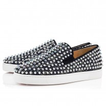 Christian Louboutin Roller-Boat Low Tops Navy Tissu Sonar Shoes