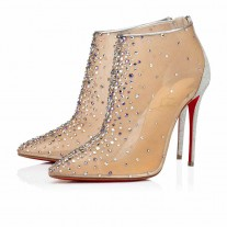 Christian Louboutin Constella Bootie Evening Version Silver/Multi Strass Shoes
