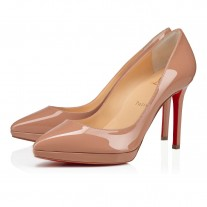 Christian Louboutin Pigalle Plato platforms Nude Patent Leather Shoes
