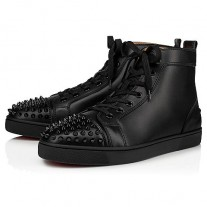 Christian LouboutinLou Spikes High Tops Black/Black/Bk Leather Shoes