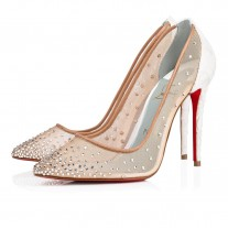 Christian Louboutin Follies Strass pumps Off White Dentelle Lace Shoes