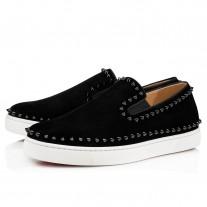 Christian Louboutin Pik Boat Low Tops Black/Black Suede Shoes