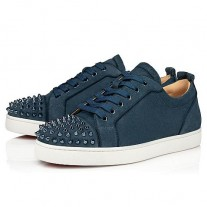 Christian Louboutin Louis Junior Spikes Orlato Flat Low Tops TEMPETE VEAU VELOURS Shoes