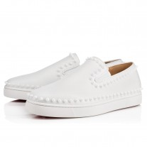 Christian Louboutin Pik Boat Low Tops White Leather Shoes