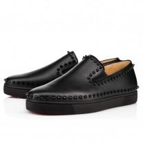 Christian Louboutin Pik Boat Low Tops Black/Black/Bk Leather Shoes