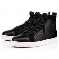 Christian Louboutin Louis Orlato High Tops Black Jacquard Scallops Shoes