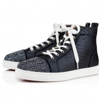 Christian Louboutin Louis P Strass Flat High Tops Navy Python Shoes