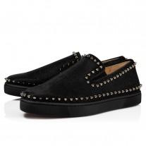 Christian Louboutin Pik Boat Low Tops Black Glitter Shoes