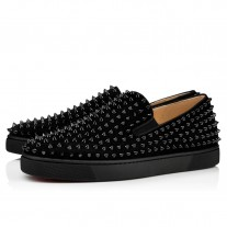 Christian Louboutin Roller-Boat Low Tops Black/Black/Bk Suede Shoes