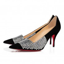Christian Louboutin Championne Strass Evening Black/Crystal Suede Shoes