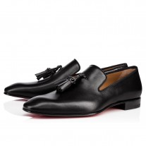 Christian Louboutin Dandelion Tassel Loafers Black Leather Shoes