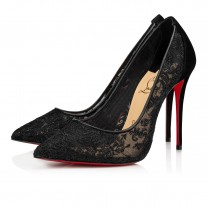 Christian Louboutin Follies Lace Evening BLACK DENTELLE Shoes