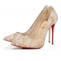 Christian Louboutin Follies Lace Evening PLATINE LACE Shoes