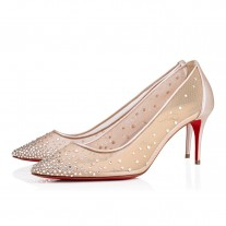 Christian Louboutin Follies Strass Evening Version Nude Strass Shoes
