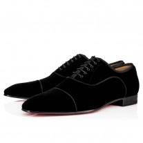 Christian Louboutin Greggo Orlato Oxfords Black Velvet Shoes