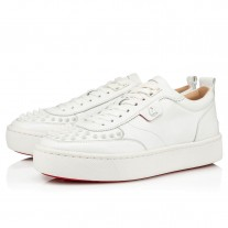 Christian Louboutin Happyrui Spikes Low Tops WHITE CALF Shoes
