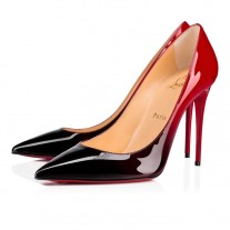 Christian Louboutin Kate pumps Black-Red Patent Leather Shoes
