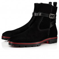 Christian Louboutin Kicko Croc Ankle Boots Black Leather Shoes