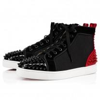 Christian Louboutin Lou Spikes 2 High Tops Version Black Mesh Shoes