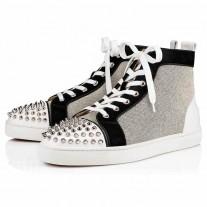 Christian Louboutin Lou Spikes Orlato High Tops Version Black Granariso Shoes