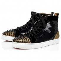 Christian Louboutin Lou Spikes Orlato High Tops BLACK PAILLETTE Shoes