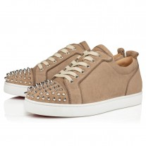 Christian Louboutin Louis Junior Spikes Orlato Flat Low Tops MANDORLA/SILVER VEAU VELOURS Shoes