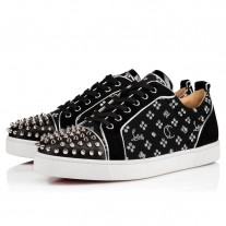 Christian Louboutin Louis Junior Spikes Orlato Men's Flat Low Tops Black/Silver Jacquard Loubi in the Sky Shoes