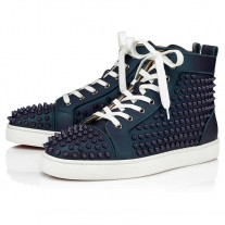 Christian Louboutin Louis Orlato High Tops Turquoise Calf Gommato Scarabee Shoes