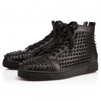 Christian Louboutin Louis High Tops Black/Black/Bk Leather Shoes