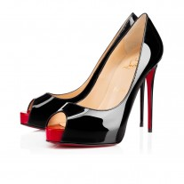 Christian Louboutin New Very Prive platforms Black/Red Patent Leather Shoes