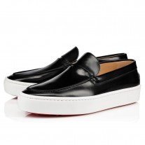 Christian Louboutin Paqueboat Flat Loafers Black Leather Shoes