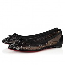 Christian Louboutin Patio Flat red Bottoms Version Black Strass Shoes
