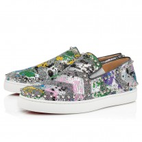 Christian Louboutin Pik Boat Low Tops Silver Paillette Splash Shoes