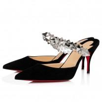 Christian Louboutin Planet Choc Mules BLACK/SILVER VEAU VELOURS Shoes