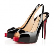 Christian Louboutin Private Number platforms Black/Red Patent Leather Shoes