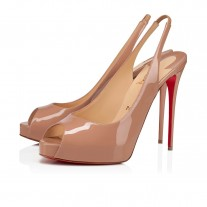 Christian Louboutin Private Number platforms Nude Patent Leather Shoes