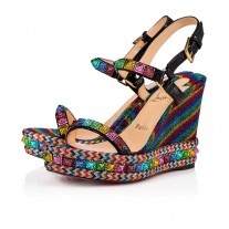 Christian Louboutin Pyraclou wedges Version Multi Lurex Arc En Ciel Shoes