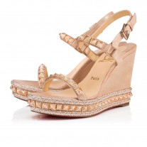 Christian Louboutin Pyraclou wedges Version Nude Suede Lame Shoes