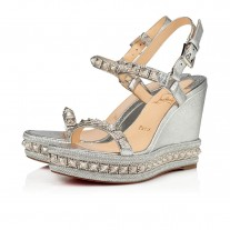 Christian Louboutin Pyradiams wedges Silver Leather Shoes