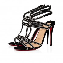 Christian Louboutin Renee Strass Sandals Black/Crystal Suede Shoes