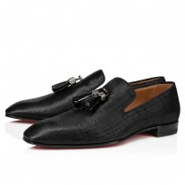 Christian Louboutin Rivalion Loafers Black Tissu Wet Shoes