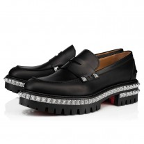Christian Louboutin Rock Moc Loafers Black Leather Shoes