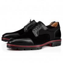 Christian Louboutin Simon Derby Black Neoprene/Calf Graine Shoes