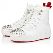 Christian Louboutin Smartic Ankle Boots White Mesh Shoes
