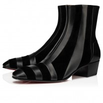 Christian Louboutin The Joker Ankle Boots Black Leather Shoes