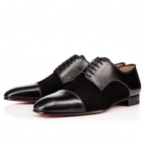 Christian Louboutin Top Daviol Derby Black/Black Suede Shoes