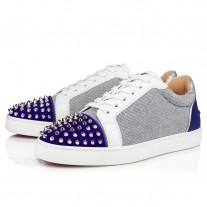 Christian Louboutin Seavaste Spikes Orlato Low Tops BLUE COTTON Shoes