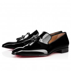 Christian Louboutin Dandelion Tassel Loafers Black Patent Leather Shoes