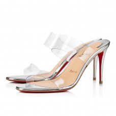 Christian Louboutin Just Nothing Mules Silver Specchio/Laminato Shoes