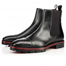 Christian Louboutin Melon red Bottoms Black Leather Shoes